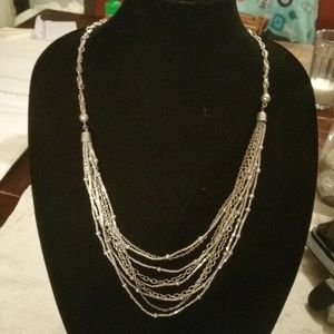 Silver Chain & Pearl Beaded Multi Layer Necklace